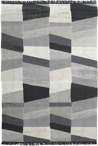 Viola - Grey/Black Rug 200X300 Authentic  Modern Handwoven Dark Grey/Light Grey/Turquoise Blue (Wool, India)