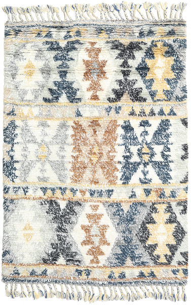 Märta - Bleu Tapis 120X180 Moderne Fait Main Beige/Gris Clair (Laine, Inde)