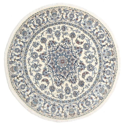 Nain Rug 200X200 Authentic  Oriental Handknotted Square Light Grey/Beige (Wool, Persia/Iran)