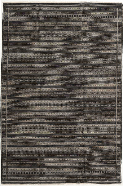 Kilim Rug 202X301 Authentic  Oriental Handwoven Dark Grey/Black (Wool, Persia/Iran)
