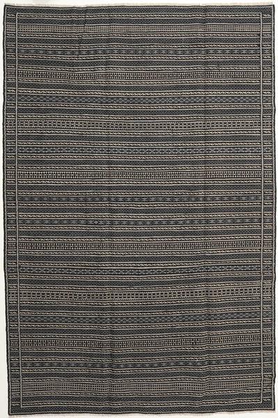 Kelim Persia Matto 200X300 Itämainen Käsinkudottu Tummanharmaa/Musta/Vaaleanharmaa (Villa, Persia/Iran)