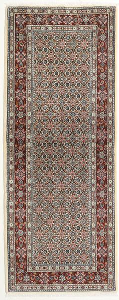 Moud Matto 78X200 Itämainen Käsinsolmittu Käytävämatto Vaaleanruskea/Tummanruskea (Villa/Silkki, Persia/Iran)