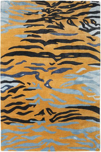 Love Tiger - Oranssi/Harmaa Matto 200X300 Moderni Vaaleanruskea/Vaaleansininen ( Intia)