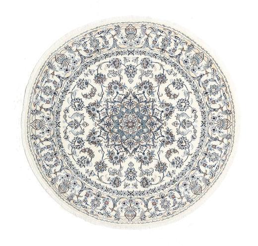 Nain Rug Ø 200 Authentic  Oriental Handknotted Round Light Grey/Beige (Wool, Persia/Iran)