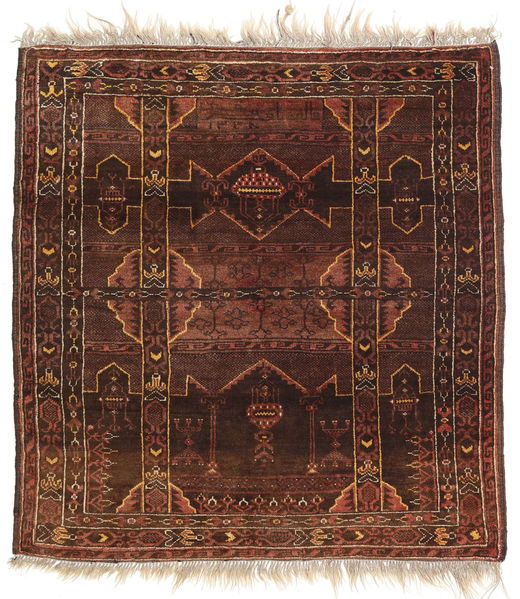 Afghan Khal Mohammadi Rug 97X100 Authentic  Oriental Handknotted Square Dark Red/Dark Brown (Wool, Afghanistan)