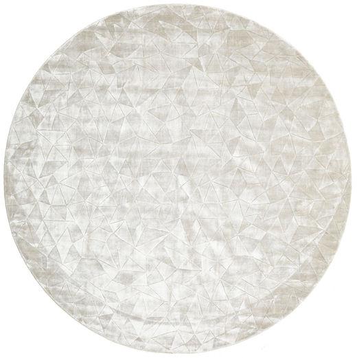 Crystal - Silver White Rug Ø 250 Modern Round Beige/Dark Beige Large ( India)