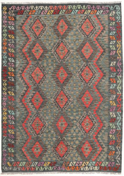Kilim Afghan Old Style Rug 178X247 Authentic  Oriental Handwoven Dark Grey/Light Brown (Wool, Afghanistan)