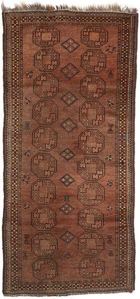 Afghan Khal Mohammadi Vloerkleed 111X242 Echt Oosters Handgeknoopt Donkerrood/Donkerbruin/Bruin (Wol, Afghanistan)
