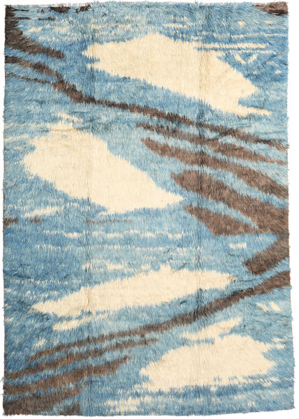 Barchi/Moroccan Berber - Afganistan Rug 202X290 Authentic  Modern Handknotted Light Blue/Beige (Wool, Afghanistan)