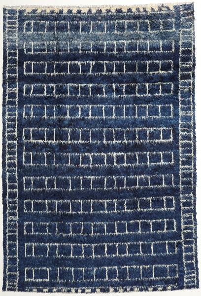Barchi/Moroccan Berber - Afganistan Teppe 193X285 Ekte Moderne Håndknyttet Mørk Blå/Blå (Ull, Afghanistan)