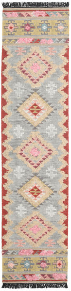 Tyra Rug 80X350 Authentic  Modern Handwoven Hallway Runner  Light Grey/Beige (Wool, India)