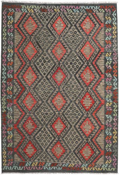Kelim Afghan Old Style Matto 206X298 Itämainen Käsinkudottu Tummanharmaa/Vaaleanruskea (Villa, Afganistan)
