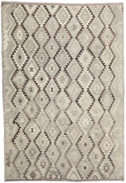 Kilim Afegão Old Style Tapete 204X301 Oriental Tecidos À Mão Castanho Claro/Cinzento Claro (Lã, Afeganistão)