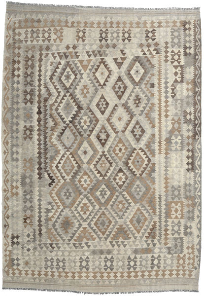 Kilim Afghan Old Style Rug 204X290 Authentic  Oriental Handwoven Light Grey/Light Brown (Wool, Afghanistan)