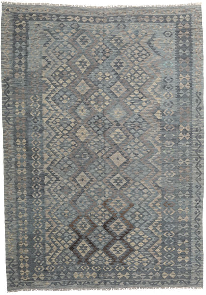 Kilim Afghan Old Style Rug 209X295 Authentic  Oriental Handwoven Light Grey/Dark Grey (Wool, Afghanistan)