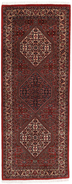 Bidjar Matto 77X199 Itämainen Käsinsolmittu Käytävämatto Tummanpunainen/Ruskea (Villa, Persia/Iran)