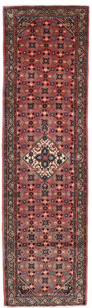 Hamadan Rug 80X291 Authentic  Oriental Handknotted Hallway Runner  Dark Brown/Dark Red (Wool, Persia/Iran)