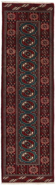 Turkaman Rug 82X278 Authentic  Oriental Handknotted Hallway Runner  Dark Brown/Dark Red (Wool, Persia/Iran)