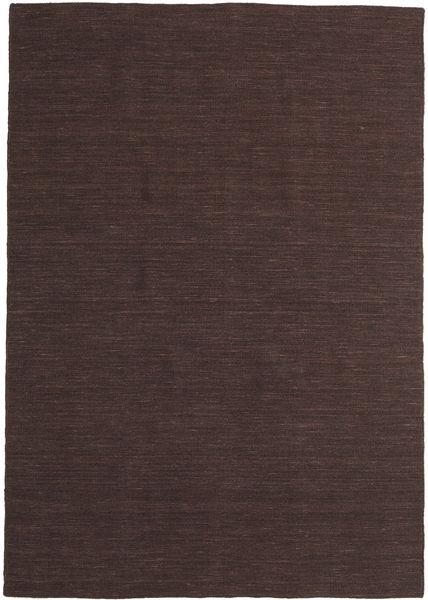 Kelim Loom - Mörkbrun Matta 160X230 Äkta Modern Handvävd Mörkbrun (Ull, Indien)