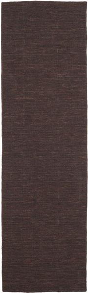 Kelim Loom - Mörkbrun Matta 80X300 Äkta Modern Handvävd Hallmatta Mörkbrun/Mörkblå (Ull, Indien)