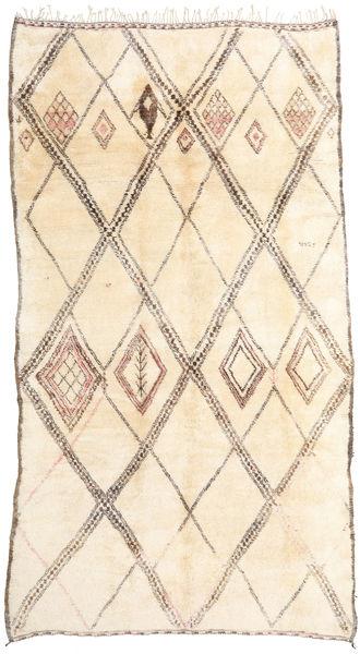 Berber Moroccan - Beni Ourain Tæppe 202X376 Ægte Moderne Håndknyttet Tæppeløber Beige/Lyserød (Uld, Marokko)