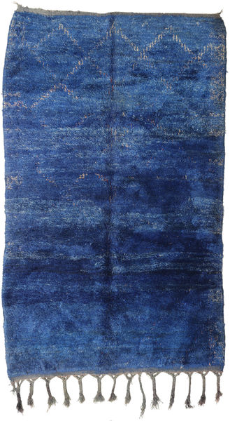 Berber Moroccan - Beni Ourain 絨毯 182X294 モダン 手織り 紺色の/青 (ウール, モロッコ)