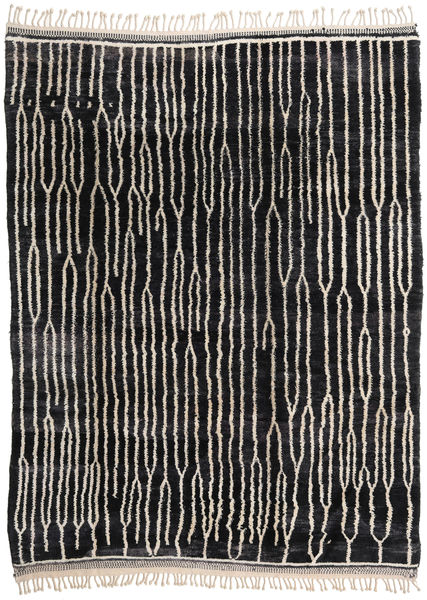 Berber Moroccan - Beni Ourain Rug 224X300 Authentic  Modern Handknotted Black/Light Grey (Wool, Morocco)