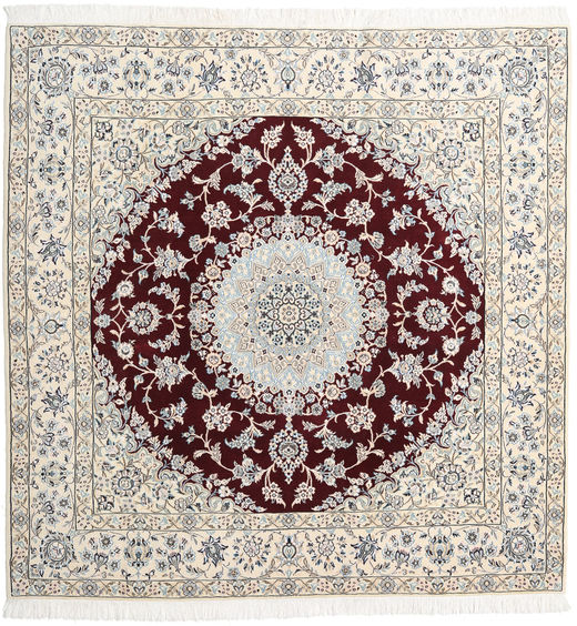 Nain 9La Vloerkleed 205X208 Echt Oosters Handgeknoopt Vierkant Lichtgrijs/Beige (Wol/Zijde, Perzië/Iran)