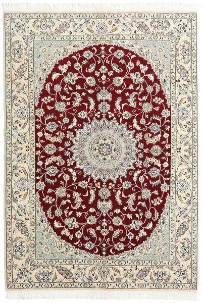 Nain 9La Dywan 146X220 Orientalny Tkany Ręcznie Beżowy/Jasnoszary (Wełna/Jedwab, Persja/Iran)