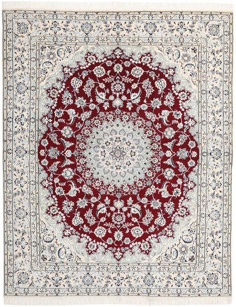 Nain 9La Rug 193X240 Authentic  Oriental Handknotted Beige/White/Creme/Light Grey (Wool/Silk, Persia/Iran)
