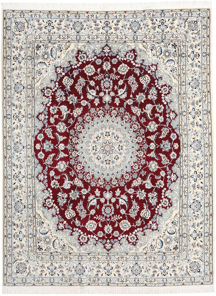 Nain 9La Teppich  197X256 Echter Orientalischer Handgeknüpfter Hellgrau/Beige (Wolle/Seide, Persien/Iran)