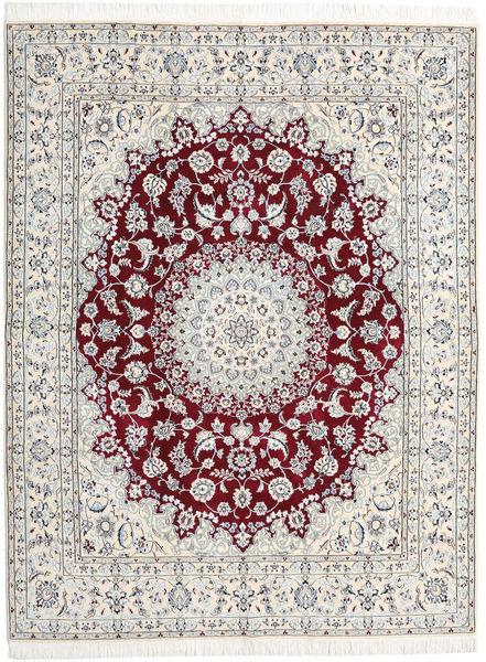 Nain 9La Teppich  198X258 Echter Orientalischer Handgeknüpfter Hellgrau/Beige (Wolle/Seide, Persien/Iran)