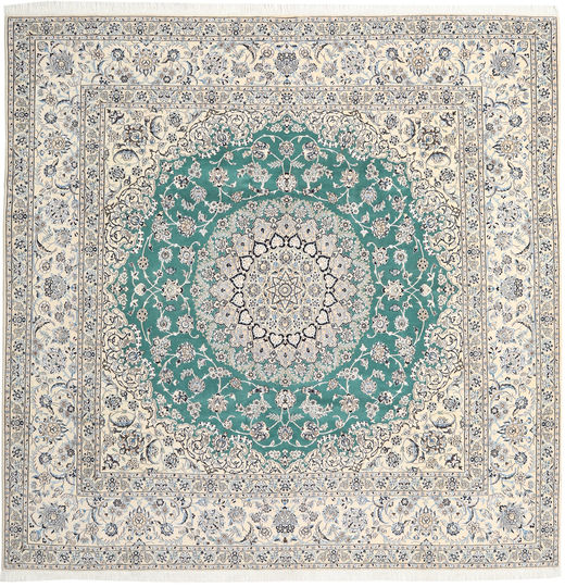 Nain 9La Rug 290X298 Authentic  Oriental Handknotted Square Light Grey/Beige Large (Wool/Silk, Persia/Iran)