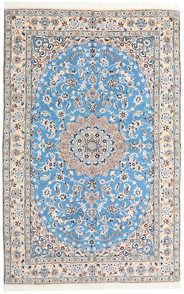 Nain 9La Rug 159X248 Authentic  Oriental Handknotted Light Grey/Light Blue (Wool/Silk, Persia/Iran)