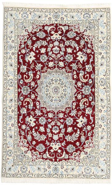 Nain 9La Matta 130X204 Äkta Orientalisk Handknuten Ljusgrå/Beige/Mörkröd (Ull/Silke, Persien/Iran)