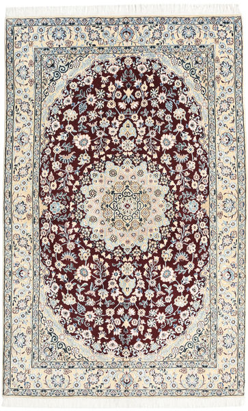 ナイン 9La 絨毯 130X205 オリエンタル 手織り 薄い灰色/ベージュ/濃い茶色 (ウール/絹, ペルシャ/イラン)