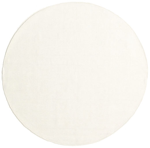 Kilim Loom - Off White Rug Ø 200 Authentic  Modern Handwoven Round Beige (Wool, India)
