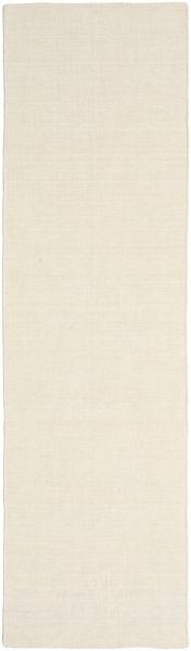 Kilim Loom - Kość Słoniowa Dywan 80X300 Nowoczesny Tkany Ręcznie Chodnik Beżowy (Wełna, Indie)