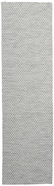 Kelim Honey Comb - Sekundární Koberec 80X290 Moderní Ruční Tkaní Běhoun Světle Šedá (Vlna, Indie)