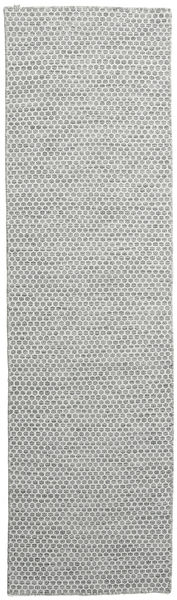 Kilim Honey Comb - Secondary Rug 80X290 Authentic  Modern Handwoven Hallway Runner  Light Grey (Wool, India)