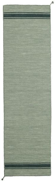 Ernst - Green/Dark _Green Rug 80X400 Authentic  Modern Handwoven Hallway Runner  Light Grey/Pastel Green (Wool, India)