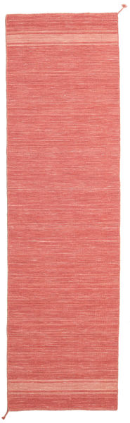 Ernst - Coral/Light_Coral Rug 80X300 Authentic  Modern Handwoven Hallway Runner  Crimson Red/Light Pink (Wool, India)