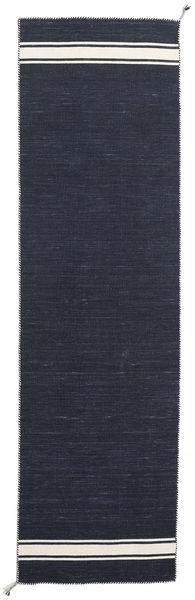 Ernst - Navy/Off White Rug 80X300 Authentic  Modern Handwoven Hallway Runner  Dark Grey/Dark Blue (Wool, India)
