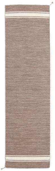 Ernst - Light Brown/Off White Rug 80X300 Authentic  Modern Handwoven Hallway Runner  Light Grey (Wool, India)