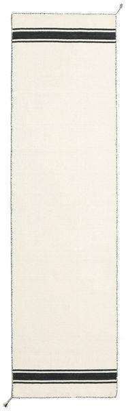 Ernst - Off White/Svart Teppe 80X300 Ekte Moderne Håndvevd Teppeløpere Beige (Ull, India)