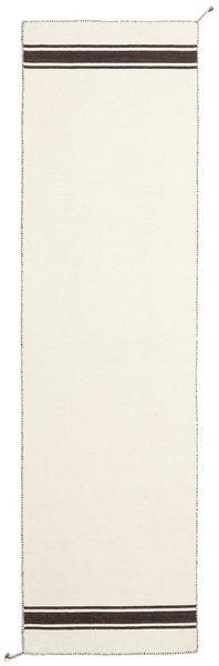 Ernst - Off White/Brun Teppe 80X400 Ekte Moderne Håndvevd Teppeløpere Beige (Ull, India)
