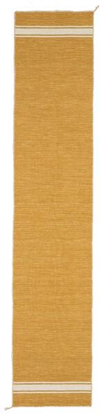 Ernst - Mustard Yellow/Off White Szőnyeg 80X400 Modern Kézi Szövésű Világosbarna (Gyapjú, India)