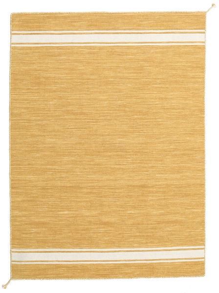 Ernst - Mustard/Off White Teppe 140X200 Ekte Moderne Håndvevd Lysbrun (Ull, India)