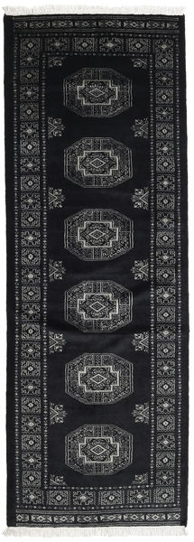 Pakistan Bokhara 3Ply Rug 81X229 Authentic  Oriental Handknotted Hallway Runner  Black/Dark Grey (Wool, Pakistan)