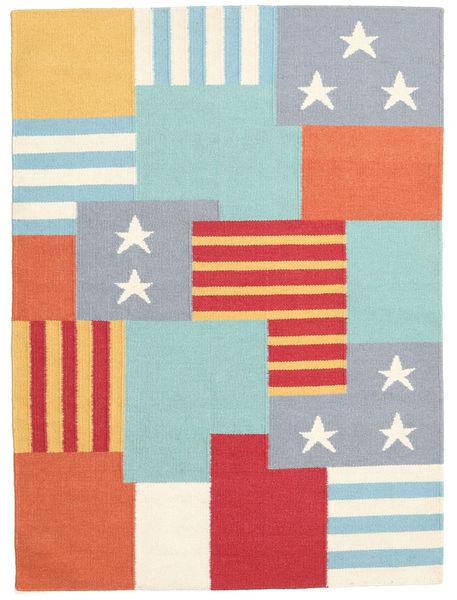 キリム モダン 絨毯 135X196 モダン 手織り ベージュ/錆色 (ウール, インド)